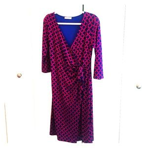Gilli Navy and Magenta Faux Wrap Dress